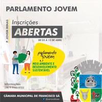 Inscrições abertas para o Parlamento Jovem - 2021. Saiba como fazer, clicando aqui!