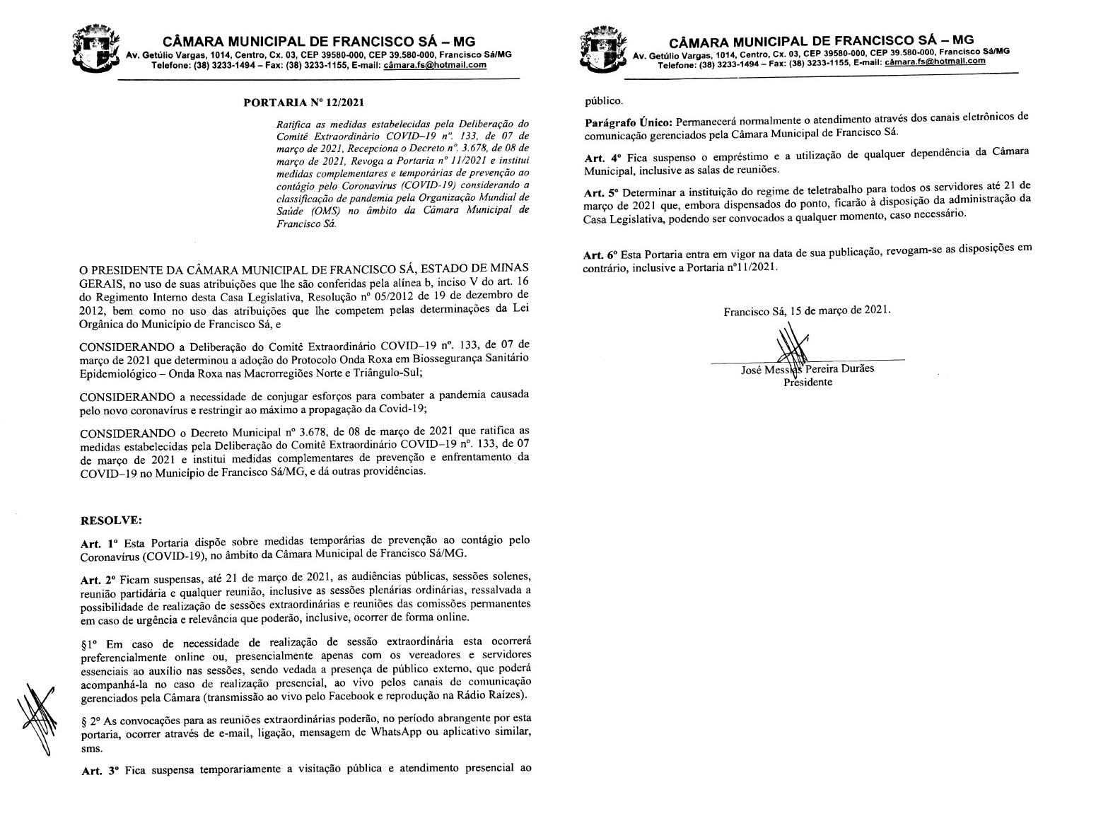 Portaria nº 12/2021 - Institui medidas complementares e temporárias de prevenção ao contágio pelo Coronavírus (COVID-19).