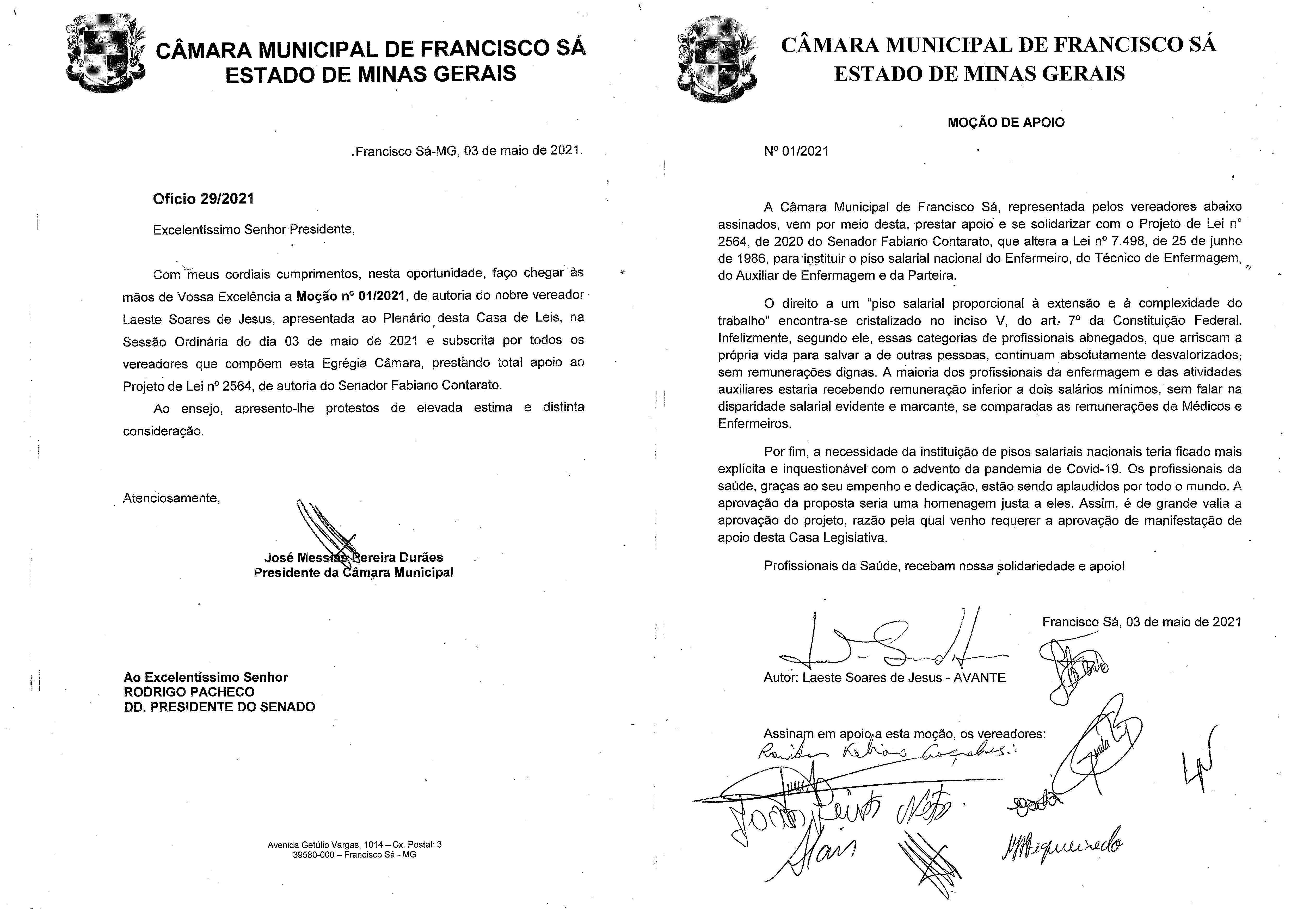 Moção nº 01/2021, de 03 de Maio de 2021
