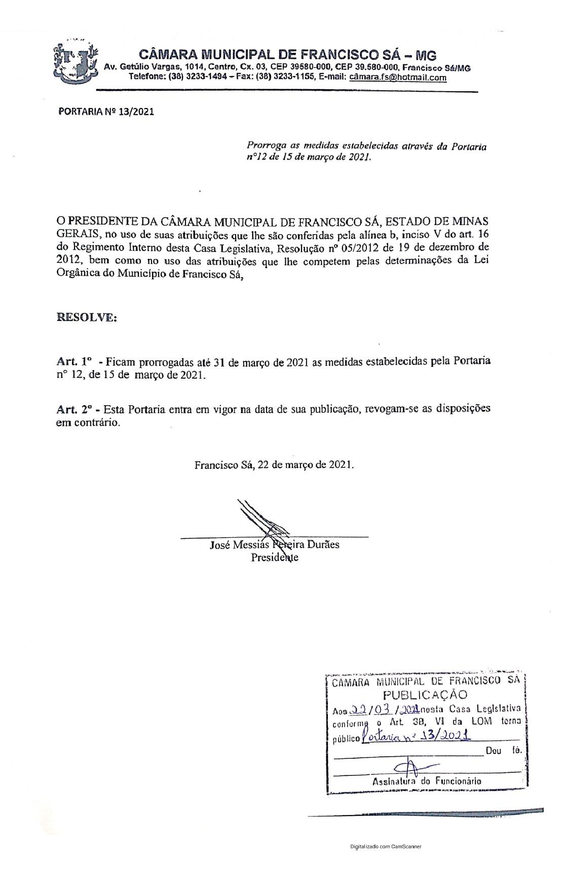Portaria nº 13/2021 - Prorroga até dia 31/03/2021 as medidas estabelecidas na Portaria nº 12/2021.