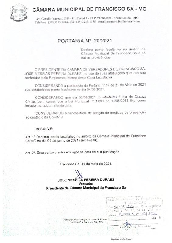 Portaria nº 20/2021